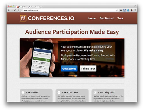 A screenshot of www.conferences.io