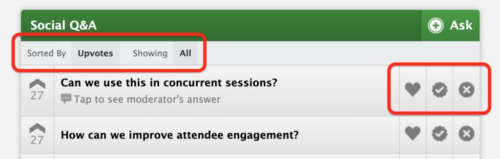 Conferences i/o Social Q&A Moderation Options