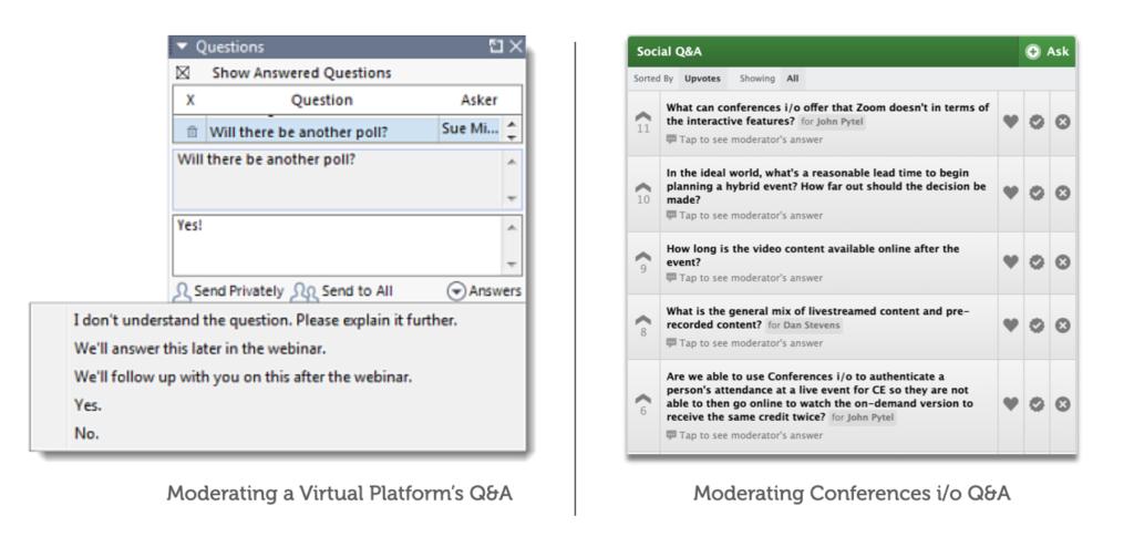 Comparison of Moderating Q&A on GoToWebinar vs. Conferences i/o