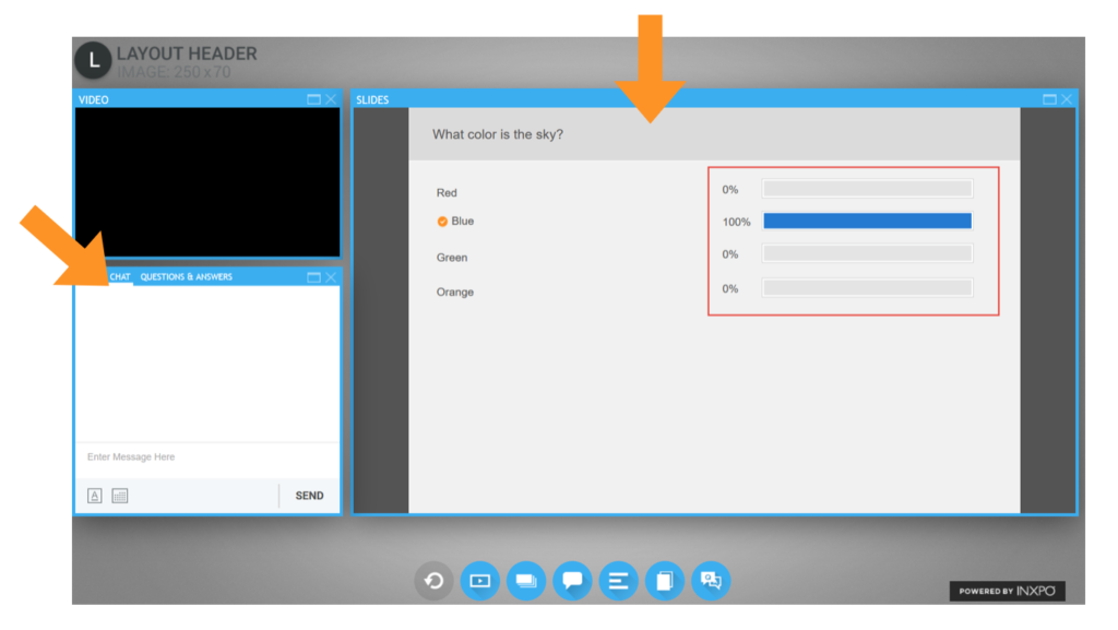 INXPO Virtual Event Platform's Built In Q&A and Polling